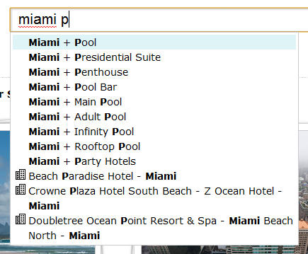 "Autocomplete results for ""Miami P"""