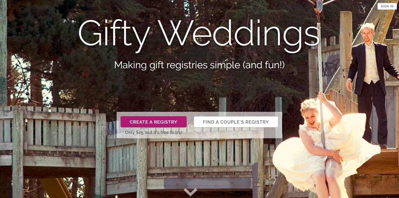 Screenshot of the new Gifty Weddings website