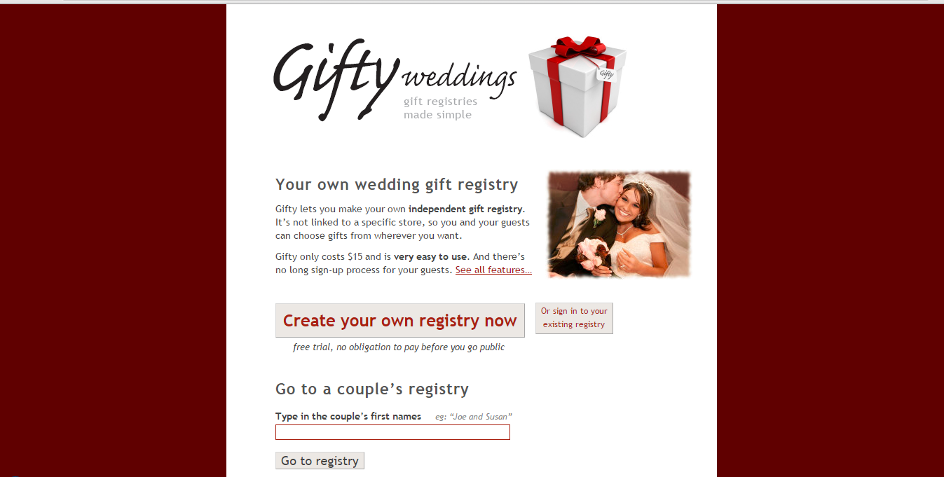 Screenshot of the old Gifty Weddings website