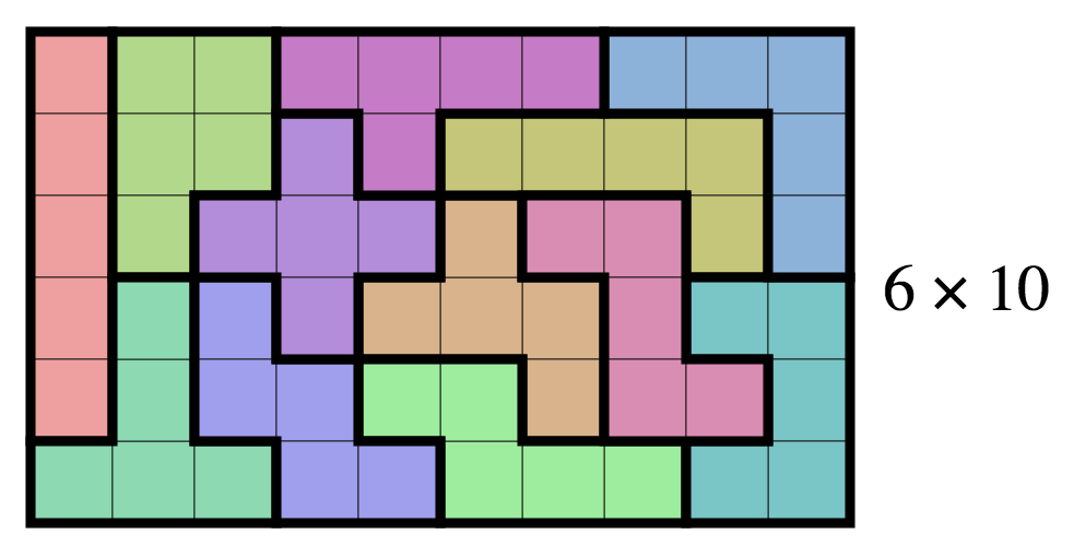 One 6x10 pentomino puzzle solution