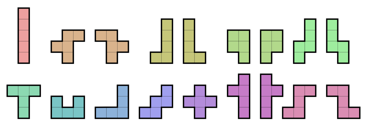 The 12 pentominoes (including flipped versions)