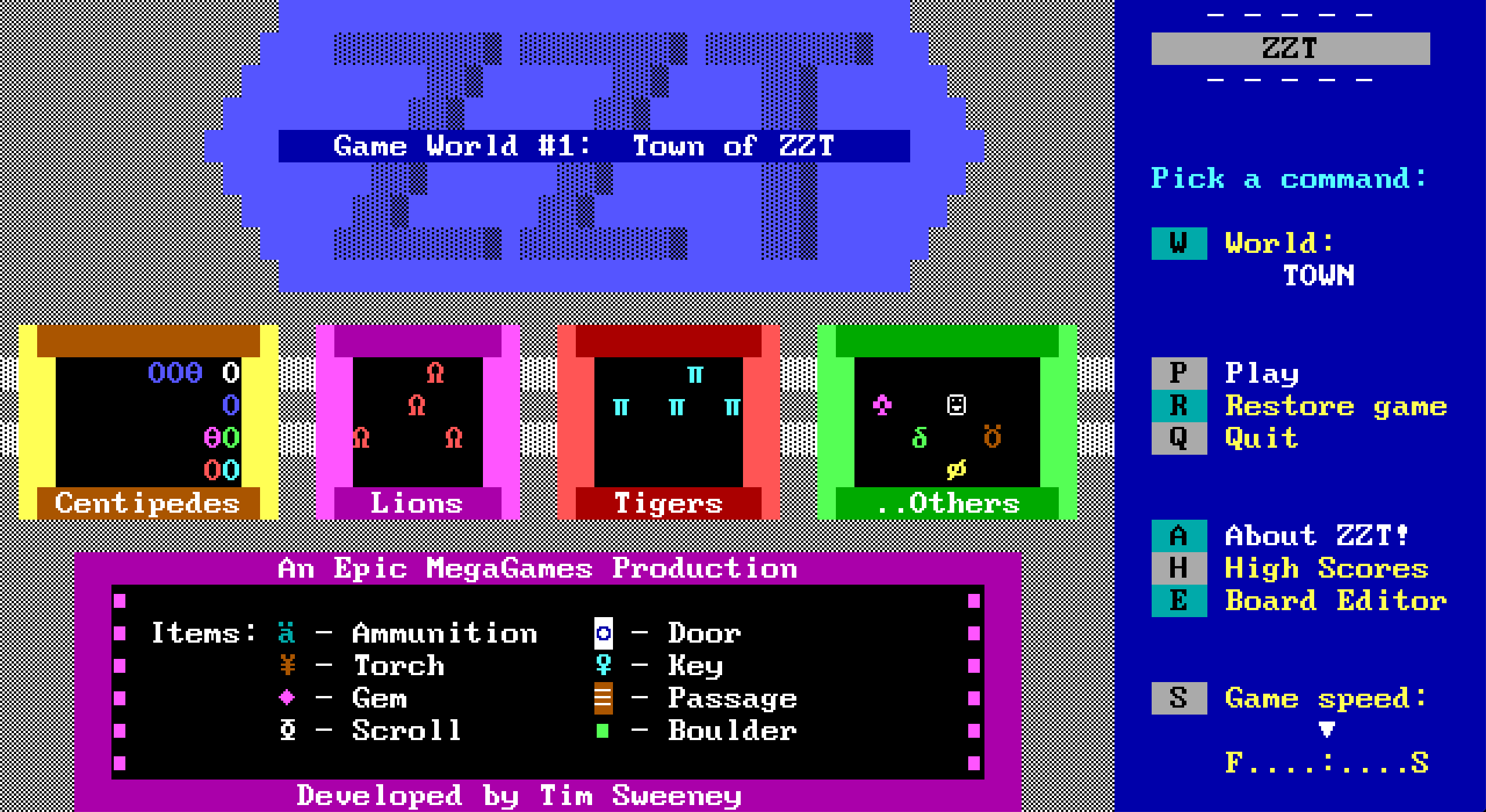 Town of ZZT title screen